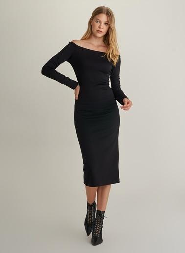 NGSTYLE Sırt Saten Bağcıklı Elbise Siyah